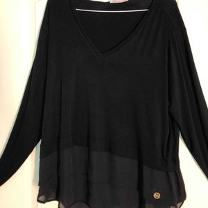 NWT Michael Kors Black Long Sleeve Top with logo